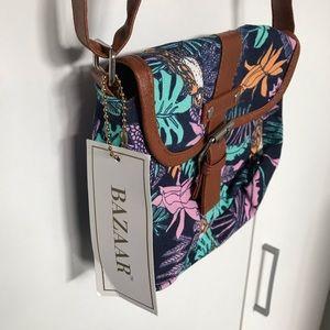 Bazaar Floral Tropical Print Shoulder Bag NWT